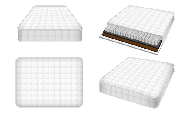 Mattress icon set, realistic style