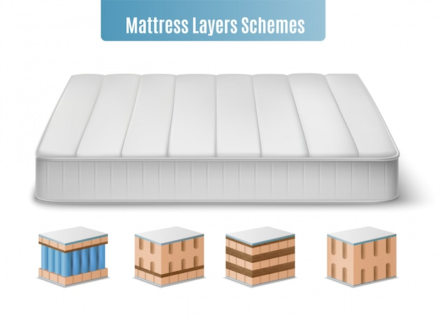 Mattress layers composition with realistic images of mattress and colourful cubic form pieces of bat stuffing illustration