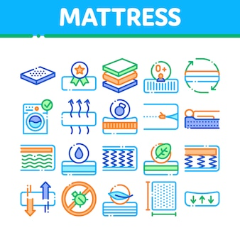 Mattress orthopedic collection icons set