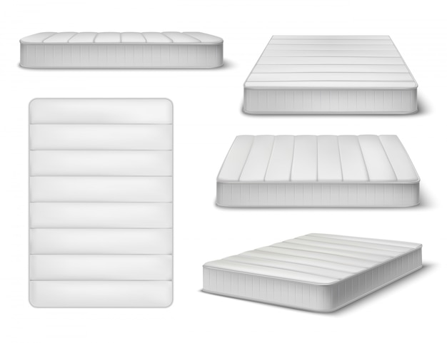 Mattress realistic set of five isolated images and different angle views of sleeping mattress with shadows illustration