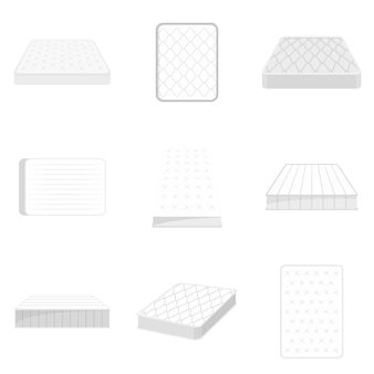Mattress squab bedding icons set