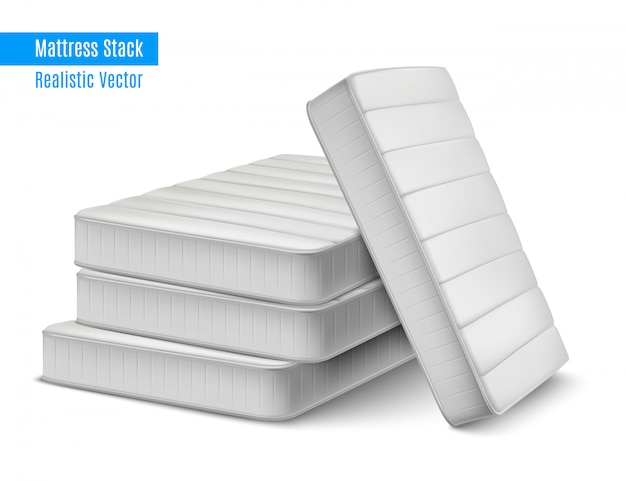 Mattress stack realistic composition with pile of white high quality sleeping mattresses with editable text illustration