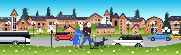 コロナウイルスのパンデミックを防ぐためにマスクを身に着けている犬の年配の男性女性と歩く成熟したカップル
