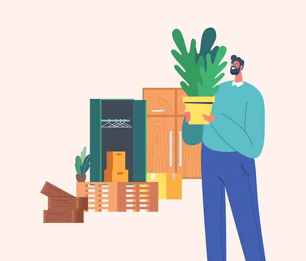 Mature man look vintage things and home plants on flea market. male character shopping on garage sale choose and buy old antique things. client in second hand shop. cartoon people vector illustration