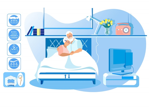 Mature man and woman lie in bed at home. vector.