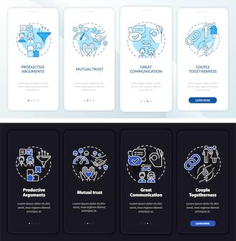 Зрелые отношения подписывают экран страницы мобильного приложения. доверьтесь пошаговому руководству из 4 шагов, графическим инструкциям с концепциями. векторный шаблон ui, ux, gui с линейными иллюстрациями ночного и дневного режимов