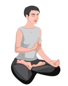 Зрелая женщина сидит в позе лотоса и медитирует с закрытыми глазами