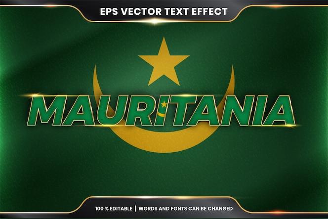 Mauritania con la sua bandiera nazionale del paese, stile effetto testo modificabile con concetto di colore oro