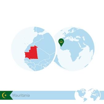 Mauritania on world globe with flag and regional map of mauritania. vector illustration.