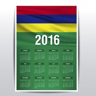 Mauritius calendar of 2016