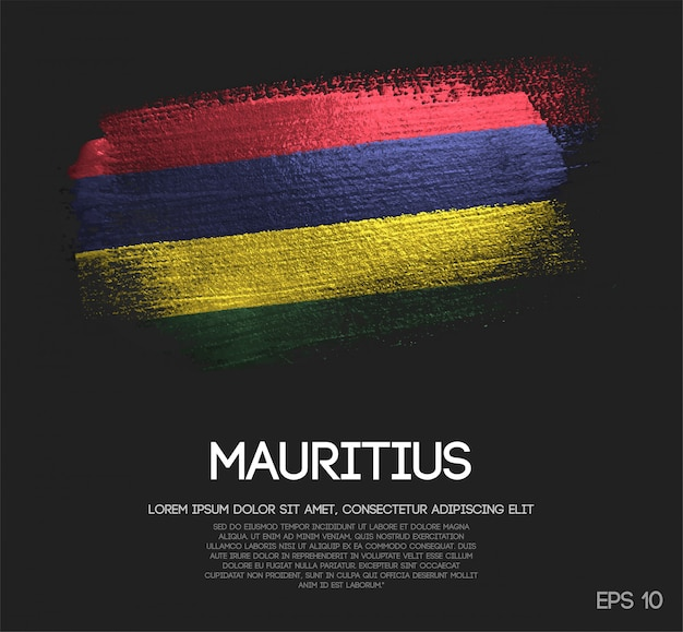 Mauritius flag made of glitter sparkle brush paint