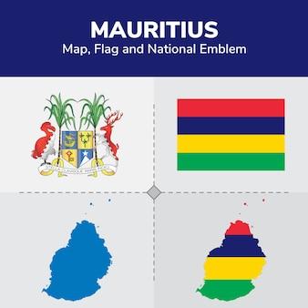 Mauritius map, flag and national emblem