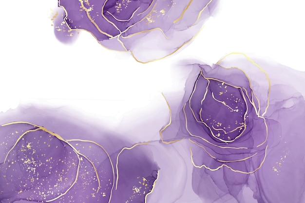 Сиреневый жидкий акварельный фон с золотыми блестящими линиями