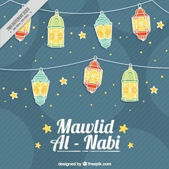 Mawlid al nabi background with lanterns