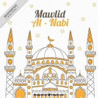 Mawlid al nabi background with mosque