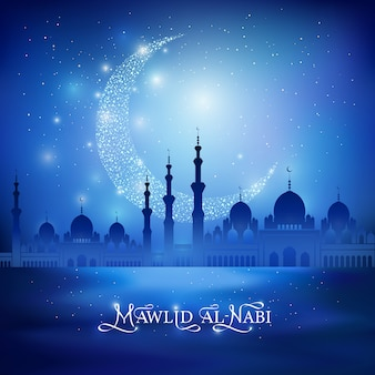 Mawlid al nabi - celebration of the birthday of the prophet muhammad. calligraphy drawing congratulation text and shine crescent moon, mosque silhouette on a night blue background. vector illustration