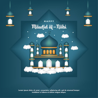 Mawlid al-nabi social media post birth of the prophet with mosque background