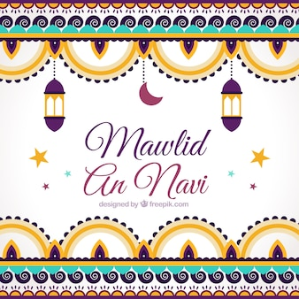 Mawlid background of ornaments in flat design