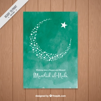 Mawlid invitation of moon in watercolor effect