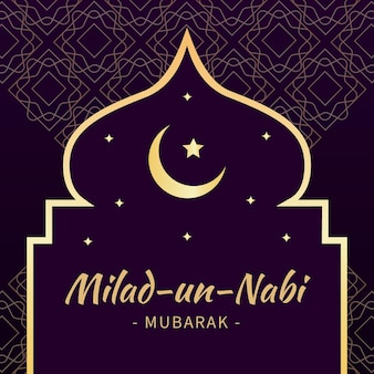 Mawlid milad-un-nabi greeting background with moon and stars