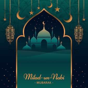 Mawlid milad-un-nabi greeting background with mosque and lanterns