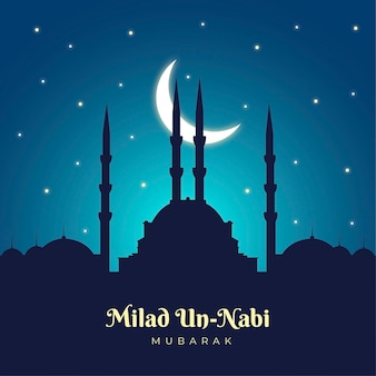 Mawlid milad-un-nabi greeting background with mosque and moon