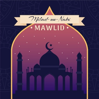 Mawlid milad un nabi greeting illustration
