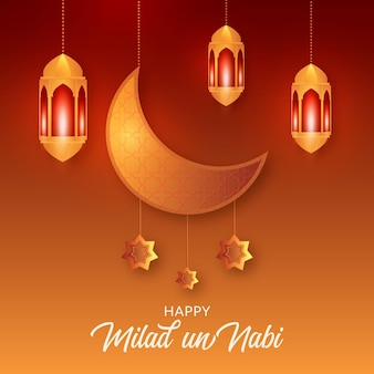 Mawlid milad-un-nabi greeting with moon and lanterns Premium Vector