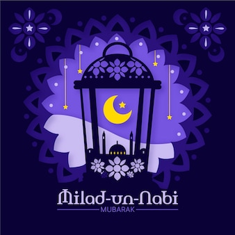 モスクと月のモーリド・ミラド・ウン・ナビの挨拶