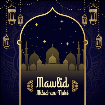 Mawlid milad-un-nabi greeting with mosque and lanterns Premium Vector