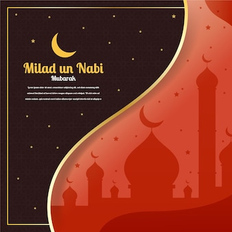 Mawlid milad-un-nabi greeting with mosque and moon