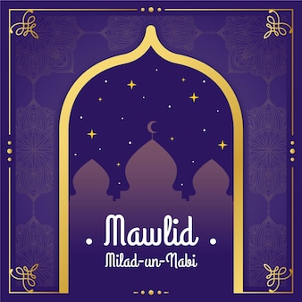 Mawlid milad-un-nabi greeting with mosque Premium Vector