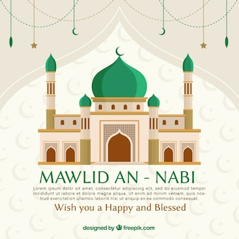 Mawlid an nabi background with mosque