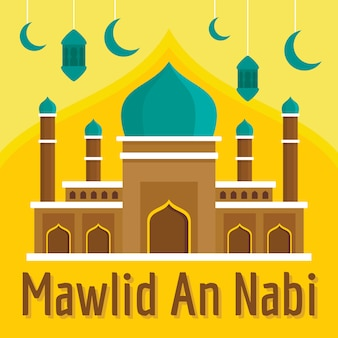 Mawlid an nabi concept background, flat style