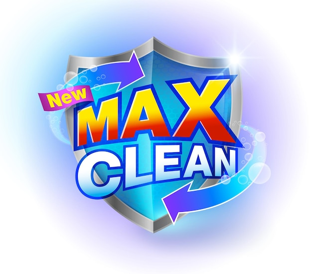 Max clean brand cleaning products on a clear crystal blue shield