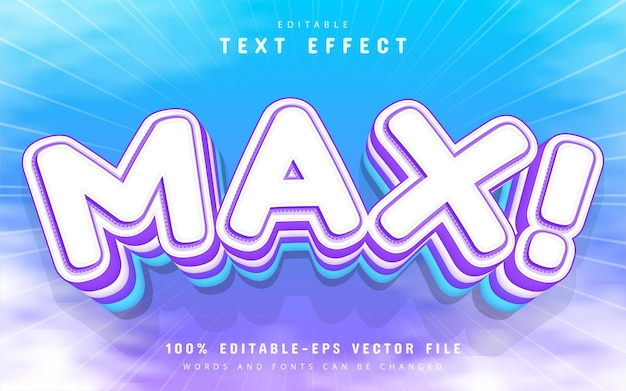 Max text effect cartoon style