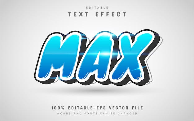 Max text effect with blue gradient