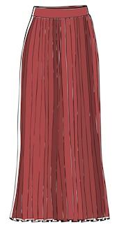 引き伸ばされた効果を与えるマキシスカート。フェミニンなルックスのための孤立したミディドレス、女性のためのエレガントなアパレル。ヴィンテージやレトロでデザインされたガーリーな服。ファッションと流行のトレンド。フラットスタイルのベクトル