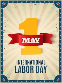 5月1日。労働者の日。カラフルな光線と星のポスターテンプレート。