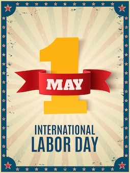 May 1st. labor day. poster template with colorful rays and stars.