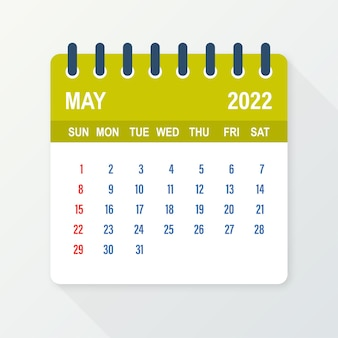 Лист календаря на май 2022 года. календарь 2022 года в плоском стиле. векторная иллюстрация.