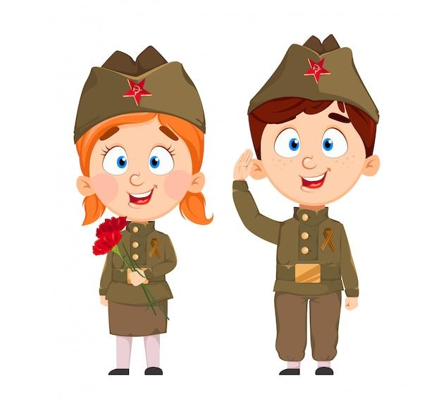 9 мая. милый мальчик и девочка. с днем победы Premium векторы