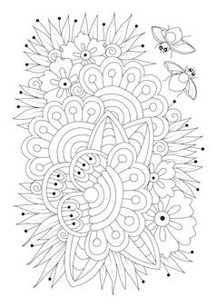 Раскраска майские жуки над цветами