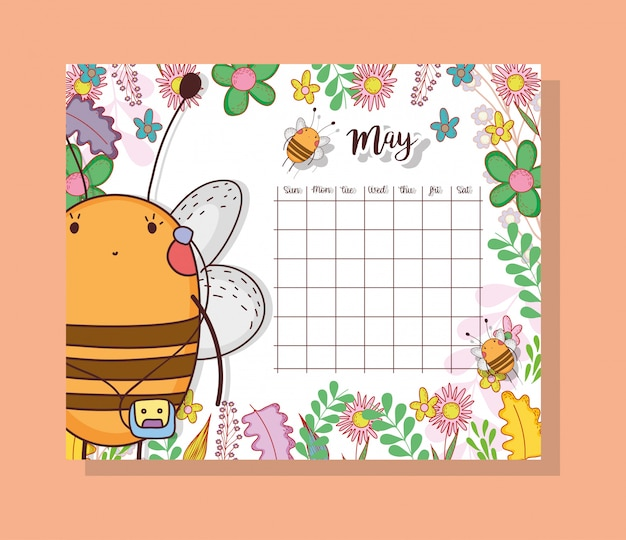 May calendar with cute bee animal