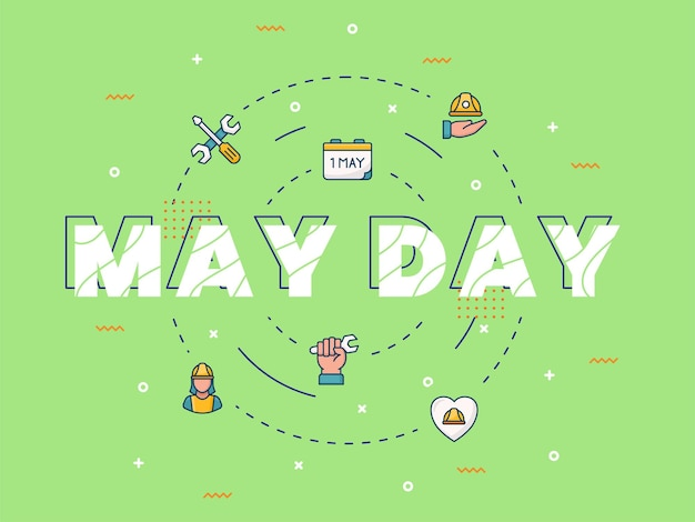 May day typography calligraphy lettering word art