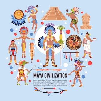 Maya civilization flat background