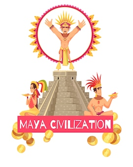 Maya civilization illustration