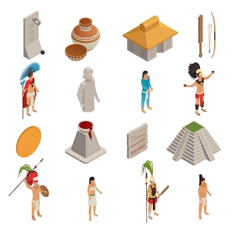 Maya civilization isometric icons