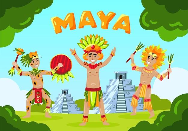Composizione del paesaggio della civiltà maya con testo e membri della tribù maya in stile cartone animato di fronte all'illustrazione delle piramidi