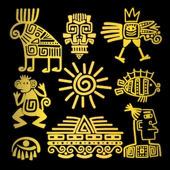Maya style gold linear totem icons